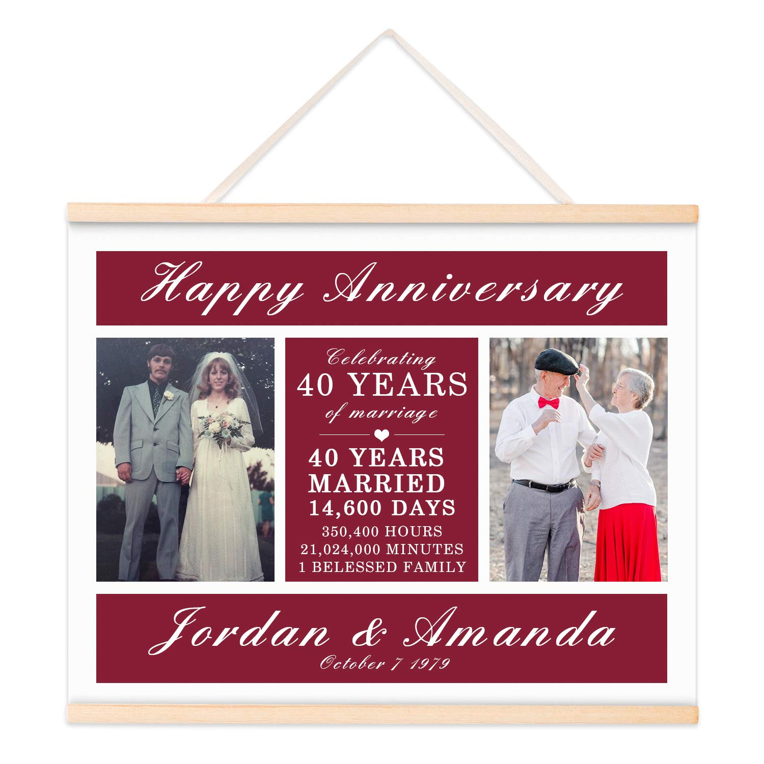 40th Anniversary Gifts, Personalized Then & Now Photo Gift for Couple, Ruby Anniversary Gifts for Parents, Canvas Picture 18''x14'', 40th-49th Anniversary ...