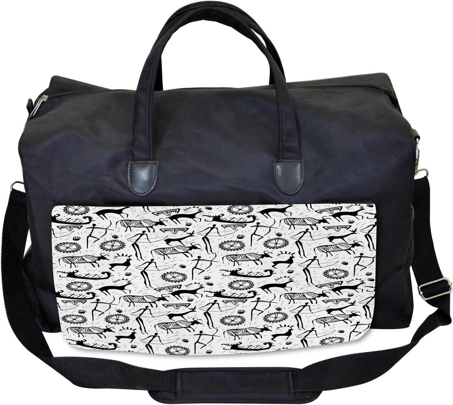 Large Weekender Carry-on Ambesonne Tribal Gym Bag Pattern Animal
