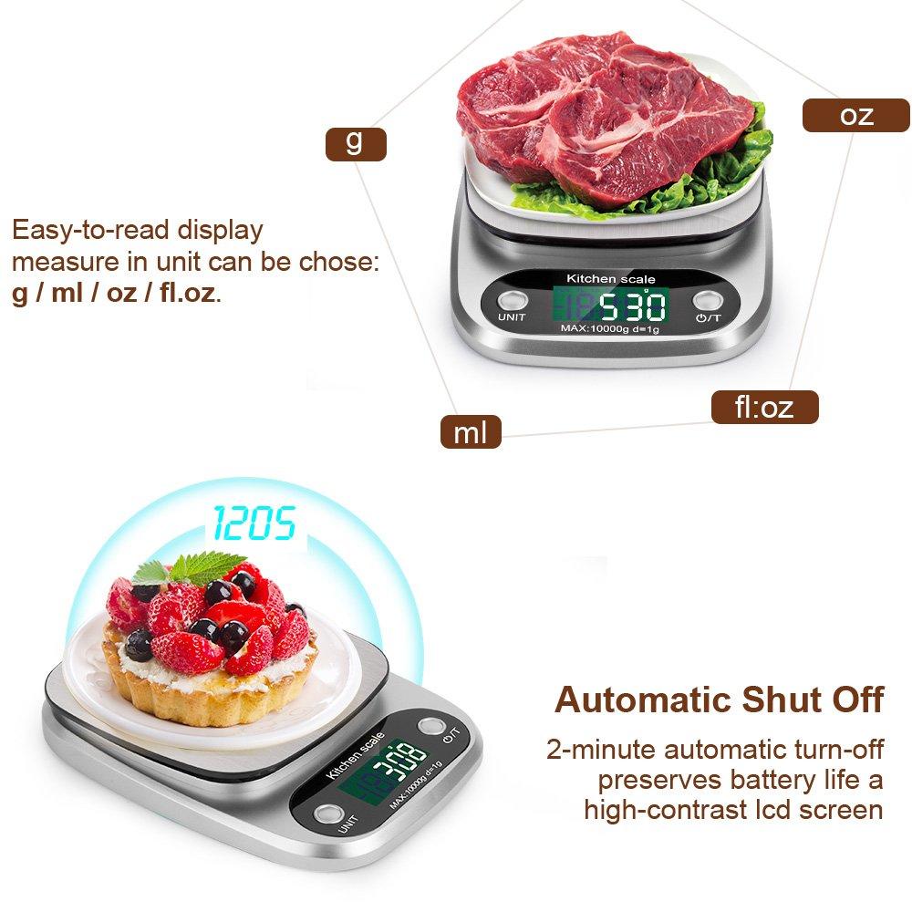 batterie incluse Balance de Cuisine Electronique 3Kg//0.1g Balance Num/érique Cuisine Balance de Pr/écision en Acier Inox LCD Display