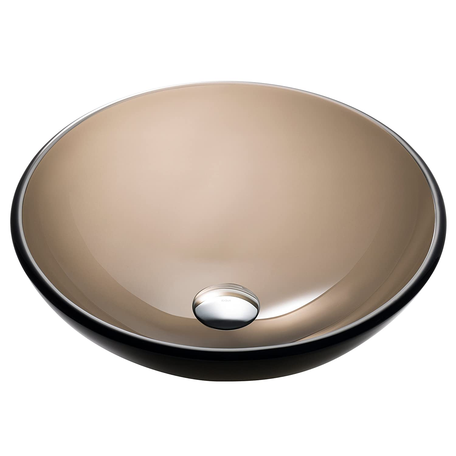 Kraus GV-103-14 Glass Above counter Round Bathroom Sink, 14 x 14 x 5.5 inches, Brown