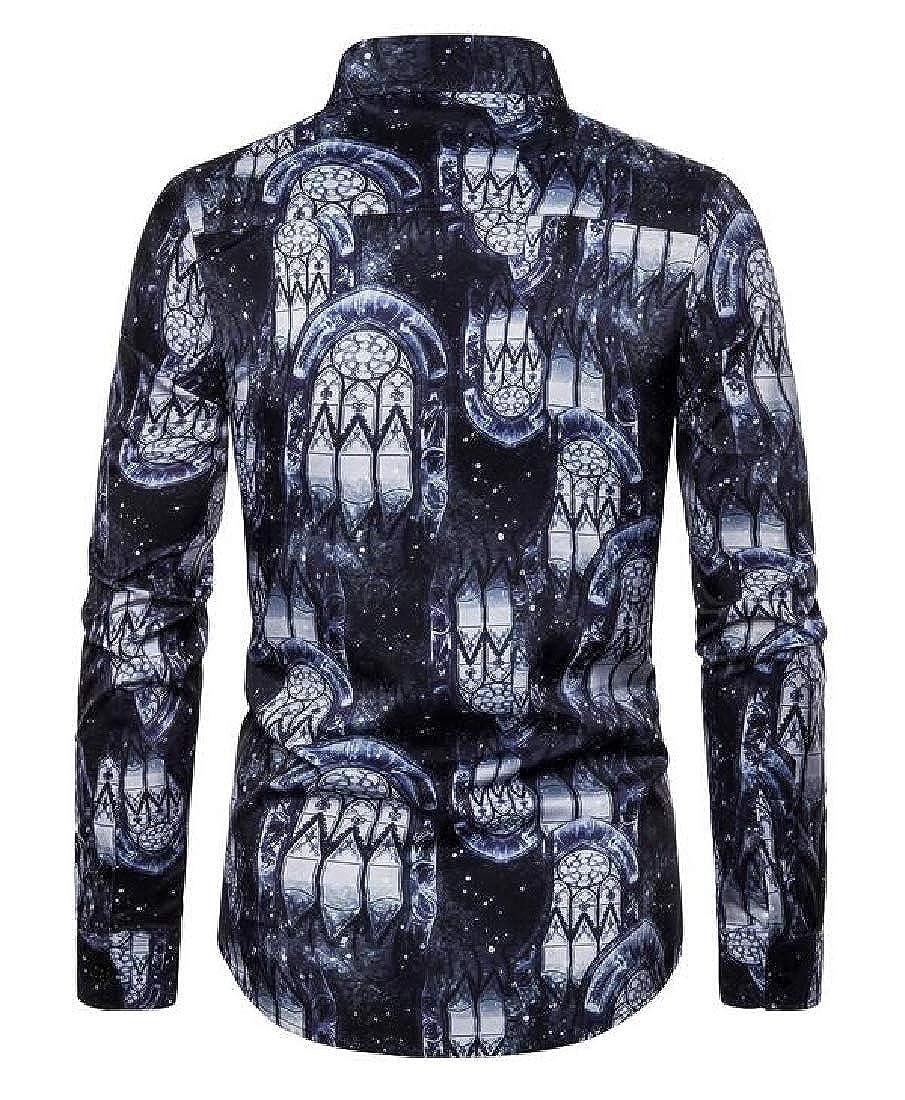 YYear Mens Lapel Printed Slim Casual Long Sleeve Button Down Shirt