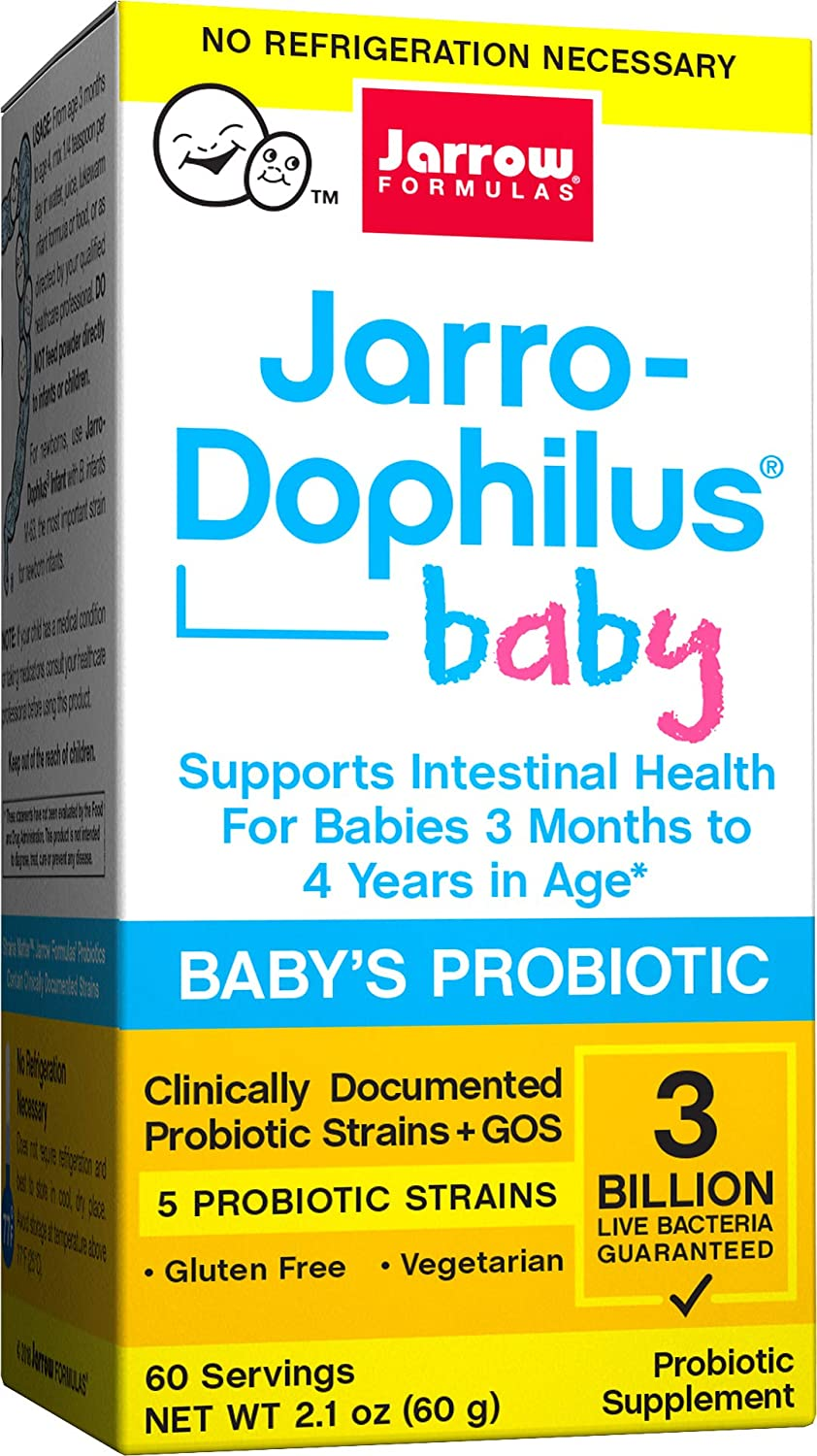 Jarrow Formulas Jarro-Dophilus Baby, Supports Intestinal Health for Babies 3 Months to 4 Years in Age, 3 Billion Cells, 60 Servings