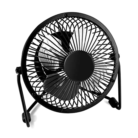 Mini Office Fan   Glamouric USB Small Metal Fan Quiet Portable Angle  Adjustable 4 Inch Blade
