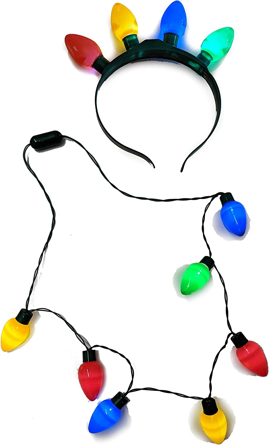 2 Pack LED Light Up Bulb Flashing Headband Lightbulb Necklace Dress-up Christmas Holiday Accessories Party Favors