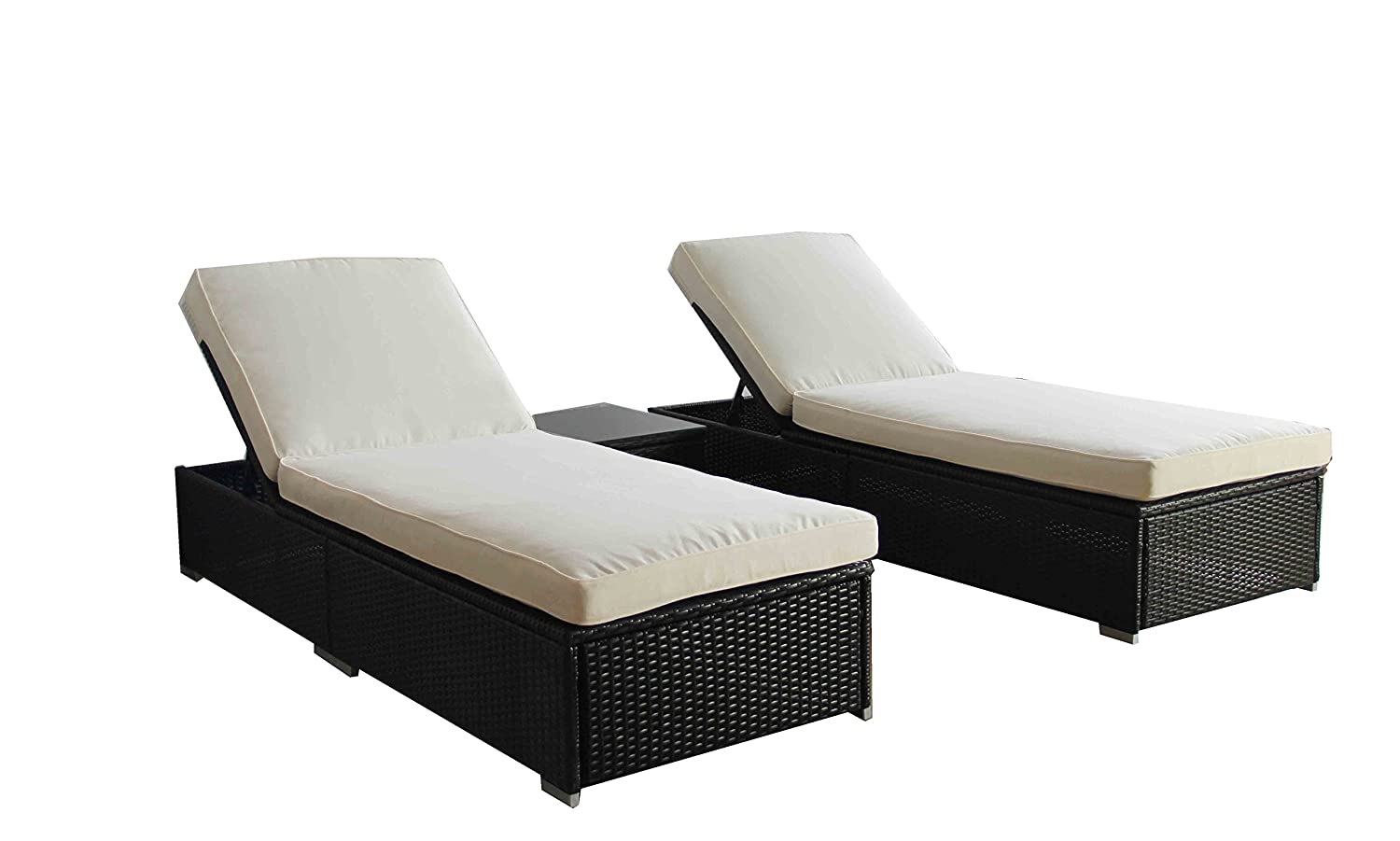 Rattan lounge  Amazon.com : Outdoor Rattan Lounge Set 3 Pcs Sofa Wicker Sectional ...