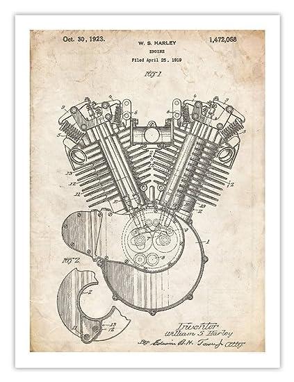 harley davidson 1923 motorcycle engine poster patent art print (18 x 24) Motorcycle Engine Work