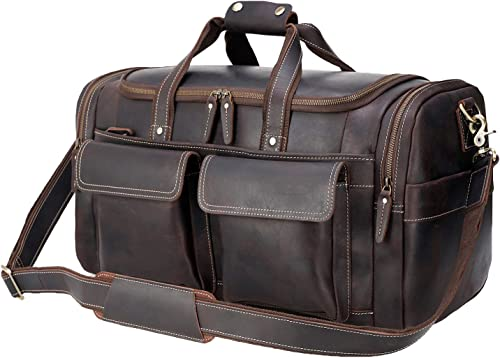 Polare 22.8 Duffel Retro Thick Cowhide Leather Gym Weekender Overnight Luggage Bag With YKK Metal Zippers
