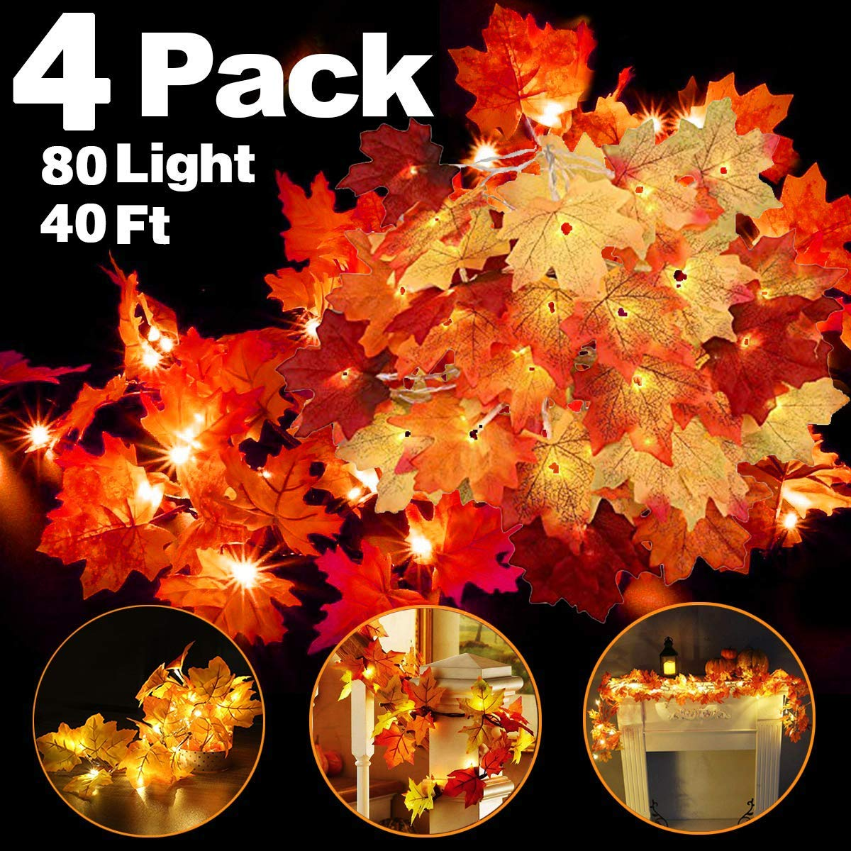 4 Pack Thanksgiving Fall Decorations Leaf Garland String Lights for Indoor Outdoor 10 ft 20 LED Maple Leaves Light 3 AA Battery Operated Decor Home Party Fireplace Harvest (4Pack Lighted Fall Garland) by Camlinbo