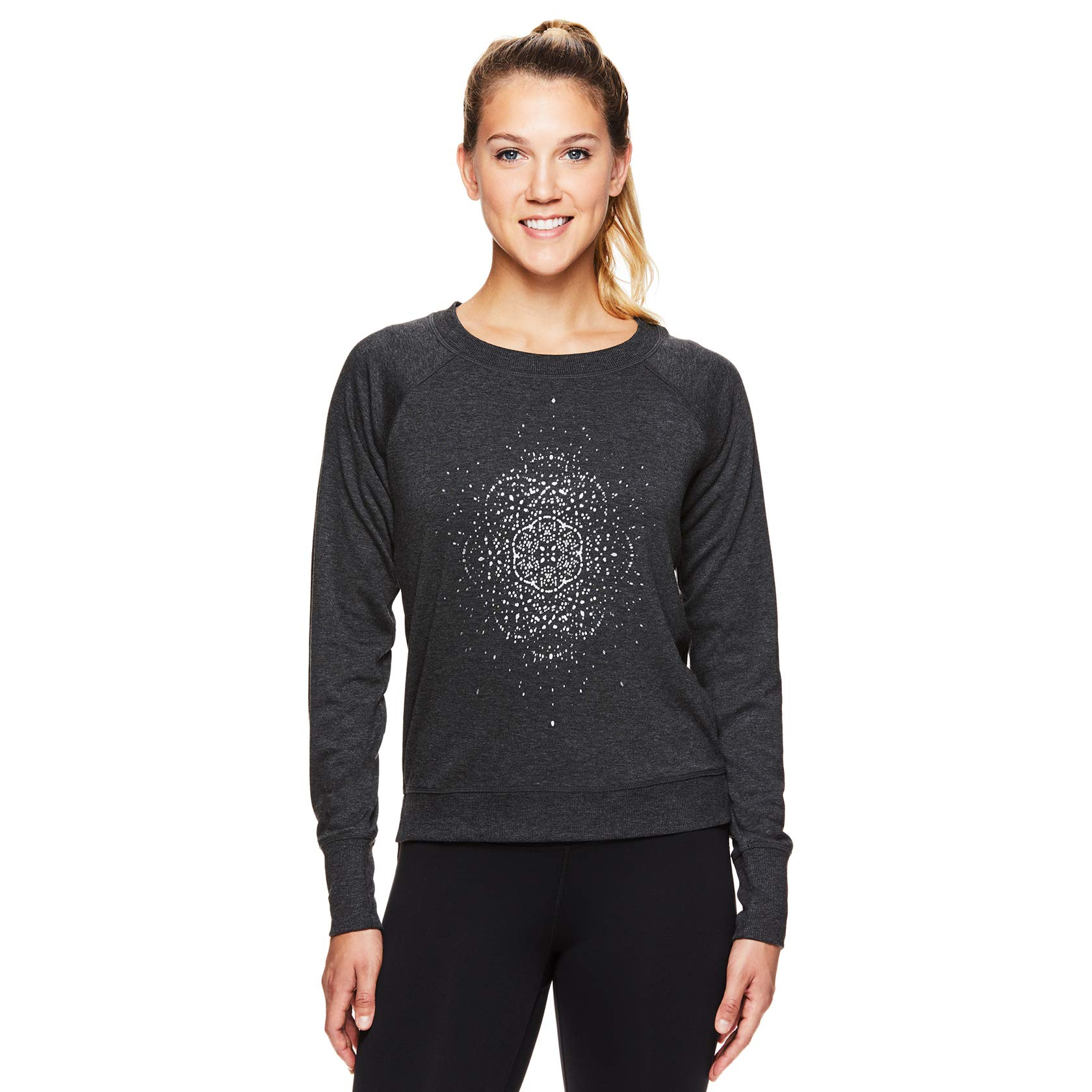 Gaiam Women's Pullover Yoga Sweater - Long Sleeve Graphic Activewear Shirt - Calla Charcoal Heather, X-Large by Gaiam