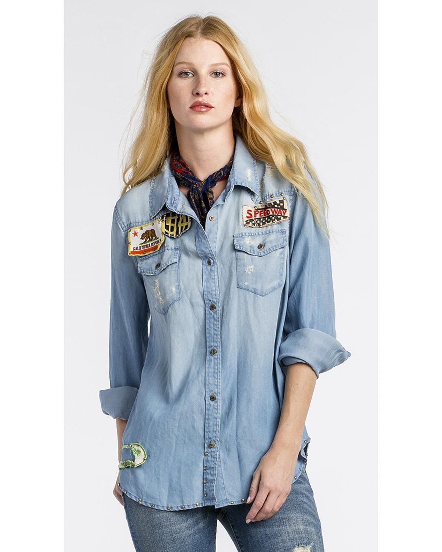 Miss Me Women's mm Vintage Indigo Patch Denim Shirt Indigo Large
