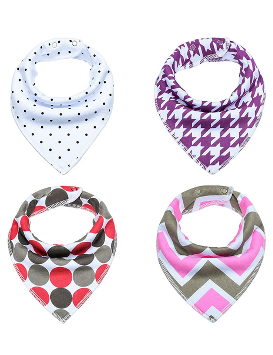 newrong Baby Cotton Drool Bibs Bandana Adjustable Snap 26 Pack One Size Picture Color22