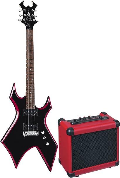 Columbia Británica Rich Rojo Biselado Warlock Pack De Guitarra Negro Con Rojo Bevels Musical Instruments