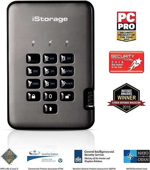 iStorage diskAshur PRO2 256ビット3TB USB 3.1 安全性の高い暗号化ハードドライブ IS-DAP2-256-3000-C-G