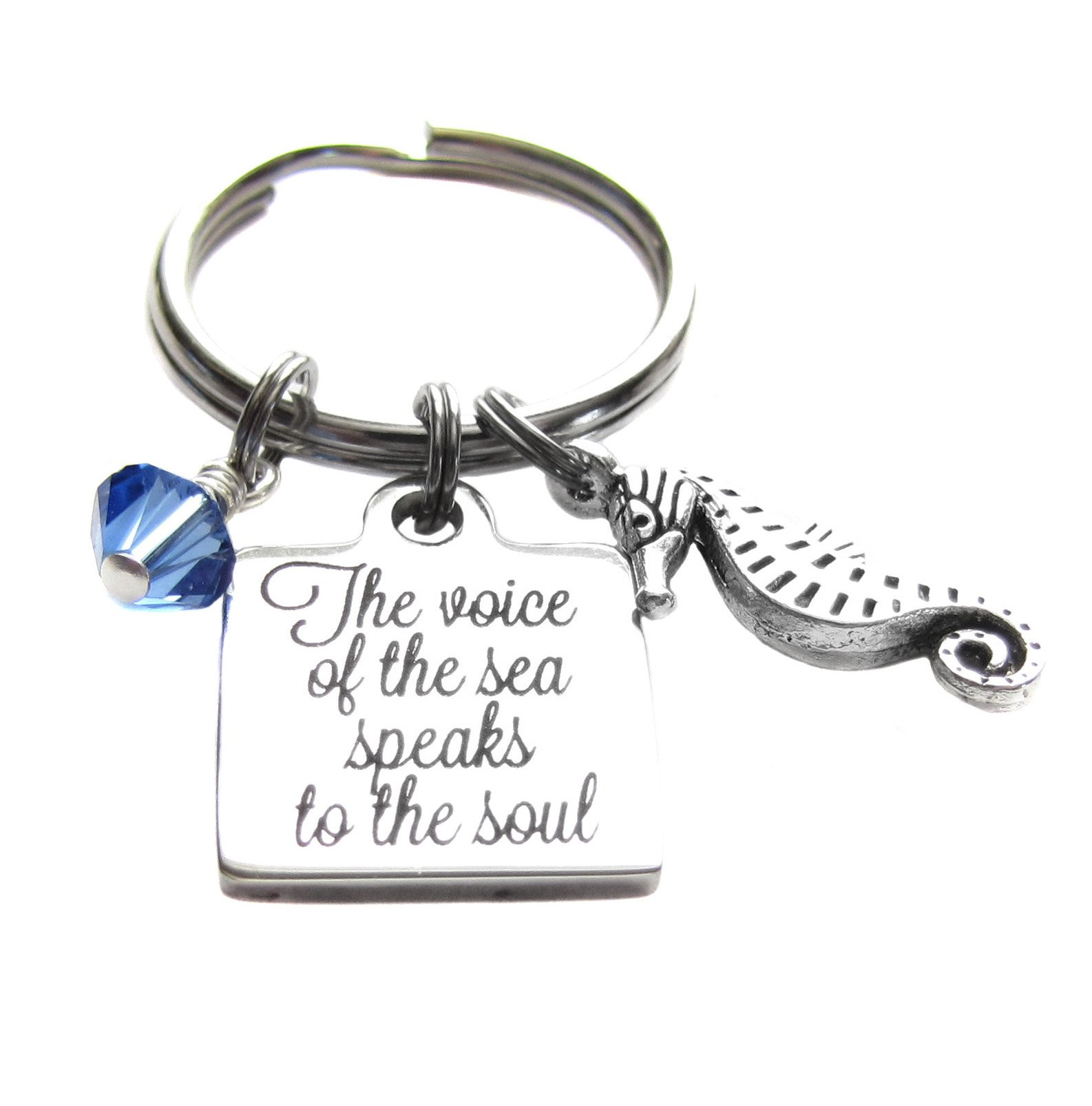 Stainless Steel ''The Voice of the Sea Speaks to the Soul'' Quote Seahorse, Keychain
