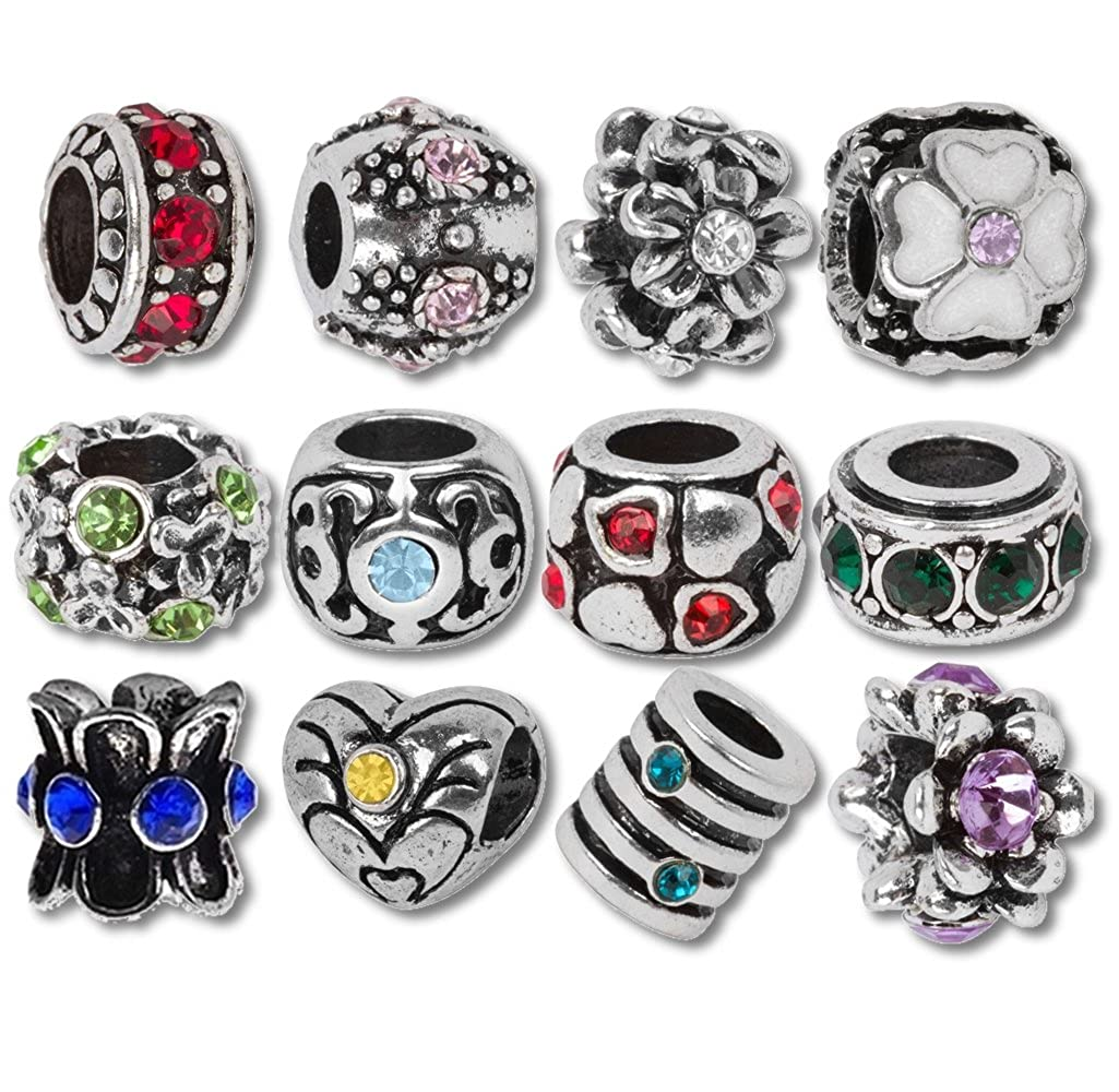 d5fbbd56a Amazon.com: Timeline Treasures European Charm Bracelet Charms and Beads For  Women, DIY Jewelry, Birthstone: Arts, Crafts & Sewing