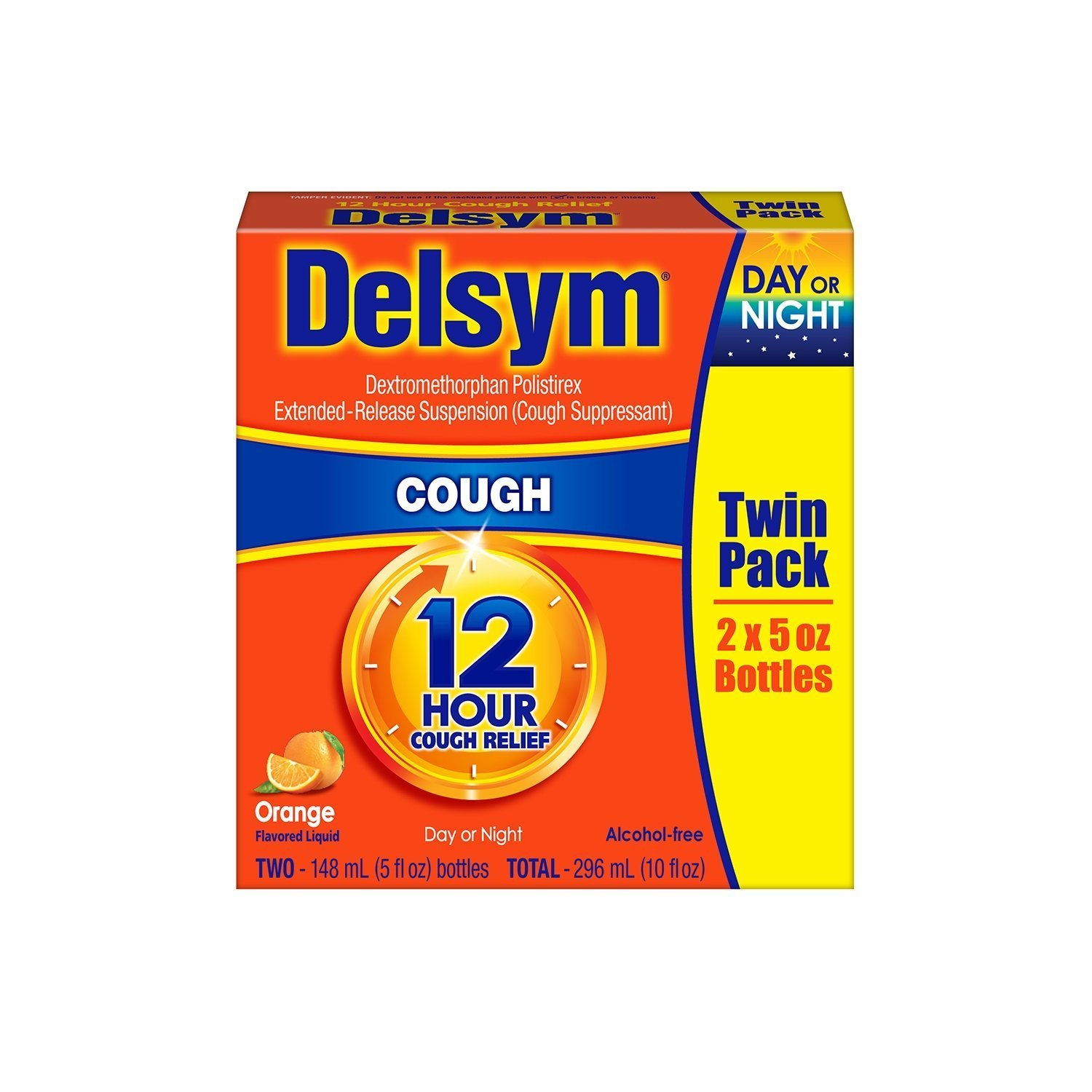 Delsym Cough Suppressant Alcohol Free Orange Flavored Liquid- 2 Pack, 5 ounces Bottle
