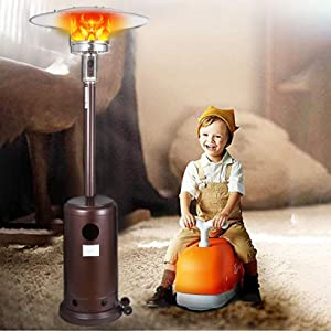 Patio Heater, Propane Gas Portable Commercial Outdoor Heater Stainless Steel Floorstanding Heater Standing with Wheels and Table for Home Garden Wedding Party and Commercial Courtyard (Brown)