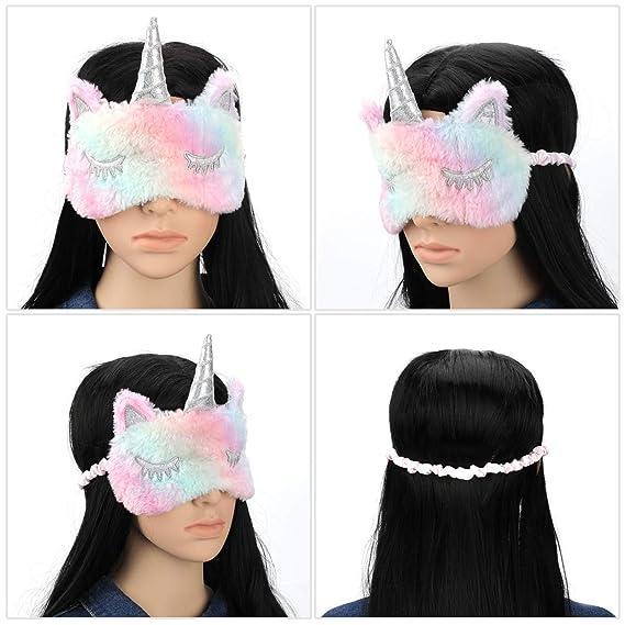 MWOOT 4 Piezas Unicornio Máscara para Dormir, Antifaz suave y ligera para dormir para niñas, adolescentes, mujeres, cubierta para los ojos, fiesta de ...
