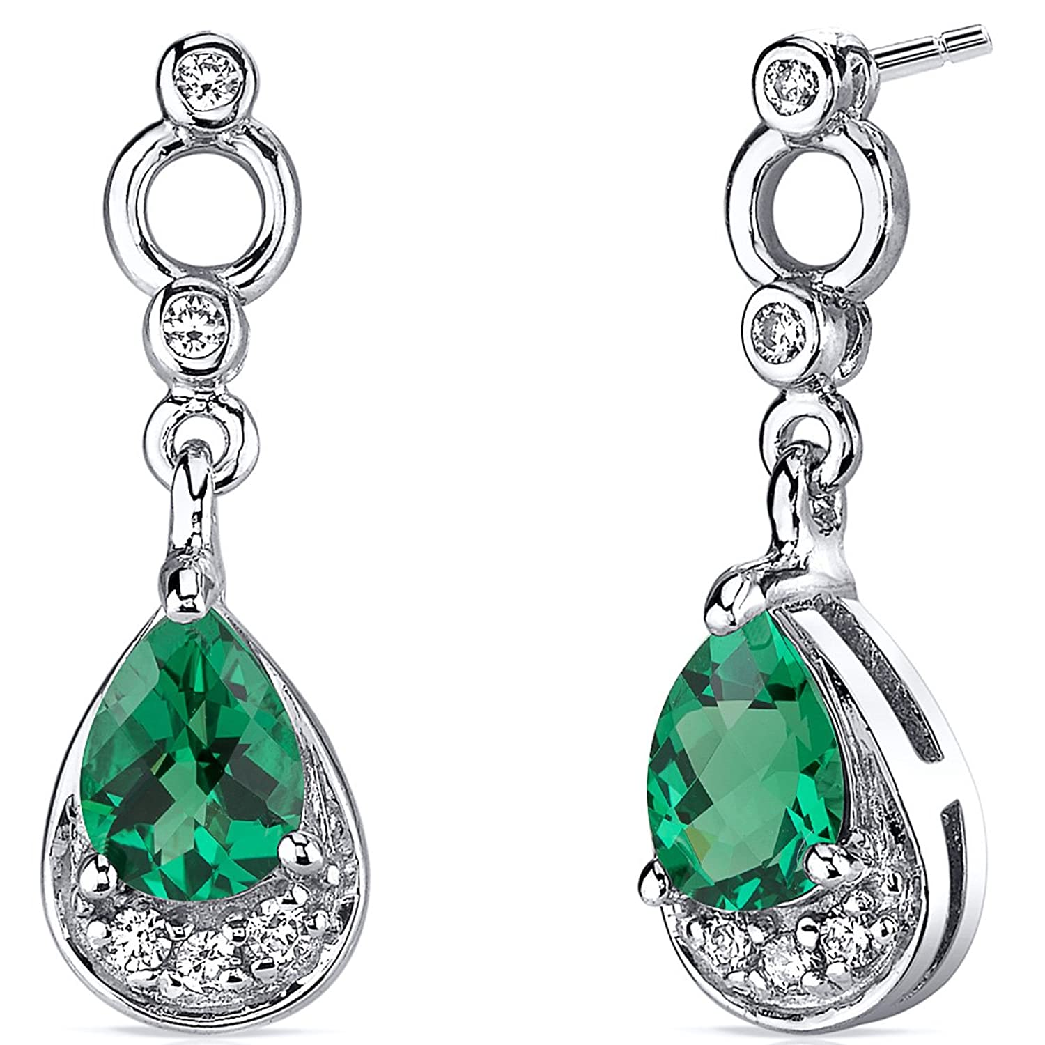 1.00 Carats Simulated Emerald Dangle Earrings in Sterling Silver