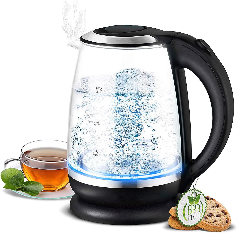 Sin BPA Unineeo Hervidor de Vidrio de 2 litros con Filtro de Cal e iluminaci/ón LED Azul Potencia: 2200 vatios Interior