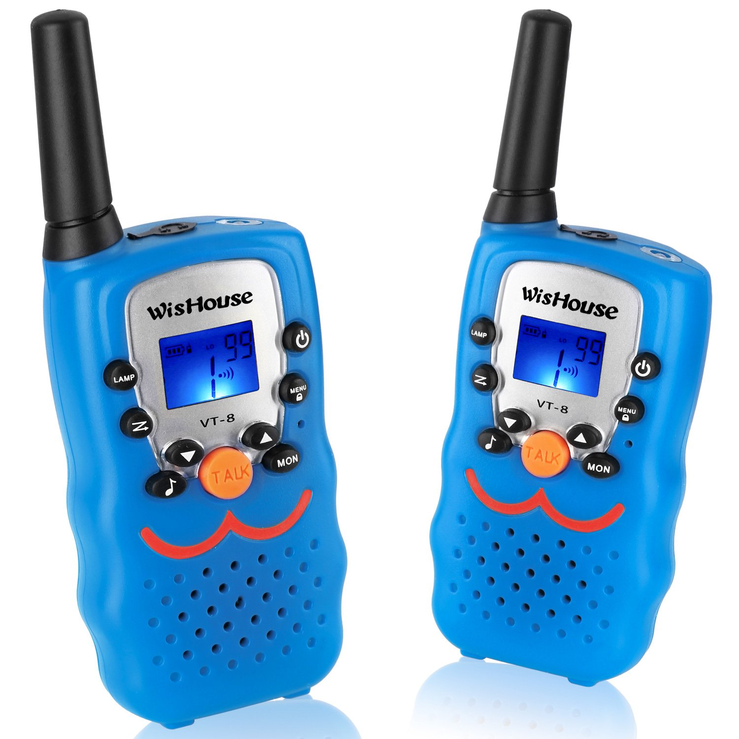 Wishouse Walky talky kids, Best Toys Walkie Radios 3 Miles Long range£¬22 Channels Handheld FRS GMRS Two way radios Hunting Hiking Camping Picnic Outdoors(VT-8 Blue,1 Pair)