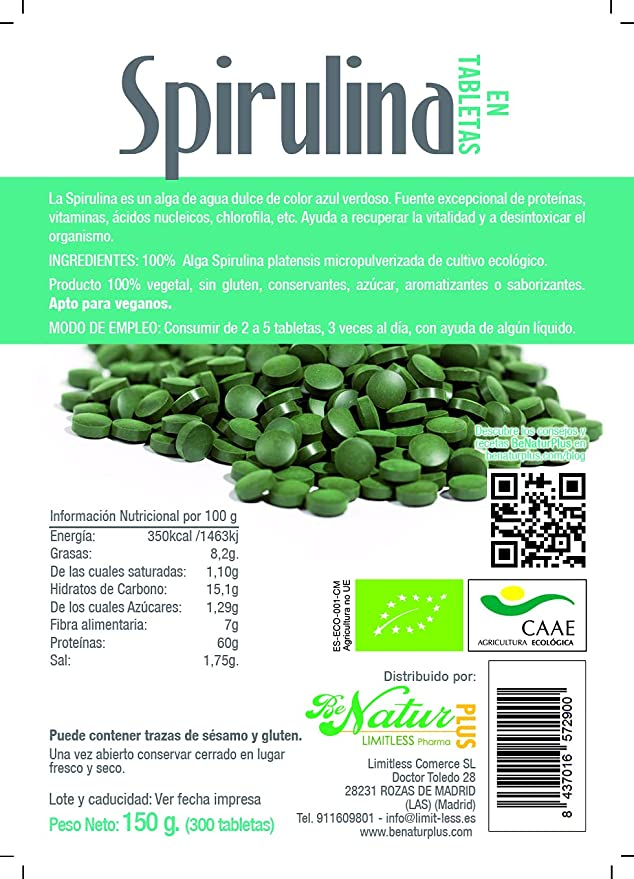 Spirulina en tabletas BeNatur Plus, 100% Alga Spirulina ...