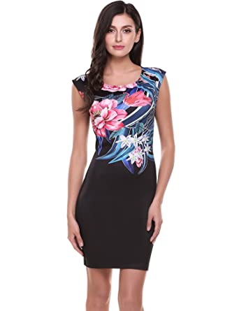 8f8a6448337 ACEVOG Women s Sleeveless Floral Print Bodycon Cocktail Party Dress(Small