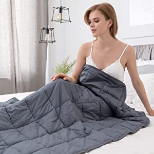 Alomidds Weighted Blanket 15 lbs/20 lbs| 48''x72'', Twin Size, for 140-150lbs Individual, Heavy Blanket Premium Cotton Material with Glass Beads| Grey