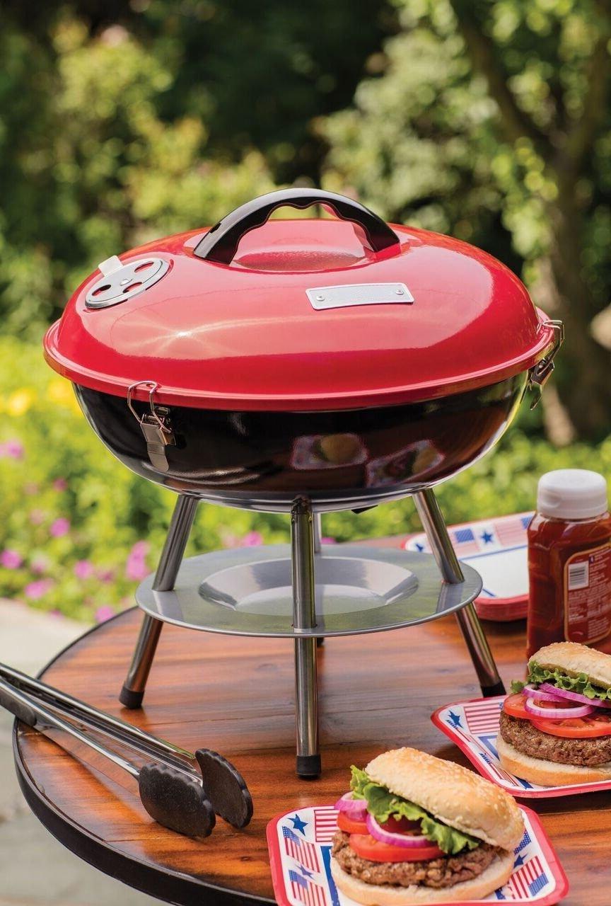 Mini Grill Charcoal Round Outdoor Portable Barbecue for Patio Garden Camping Picnic & e-Book by jn.widetrade.