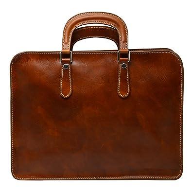 f808b15f4e Serviette Porte-documents En Cuir Véritable Couleur Cognac - Maroquinerie  Fait En Italie - Cartable: Amazon.fr: Chaussures et Sacs