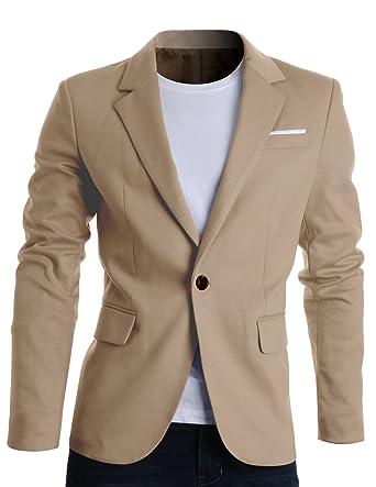 Buy Flatseven Mens Slim Fit Casual Premium Blazer Jacket Bj102 Beige L At Amazon In