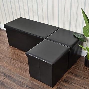 Pleasant Amazon Com 3 Piece Folding Storage Ottoman Bench Footrest Squirreltailoven Fun Painted Chair Ideas Images Squirreltailovenorg