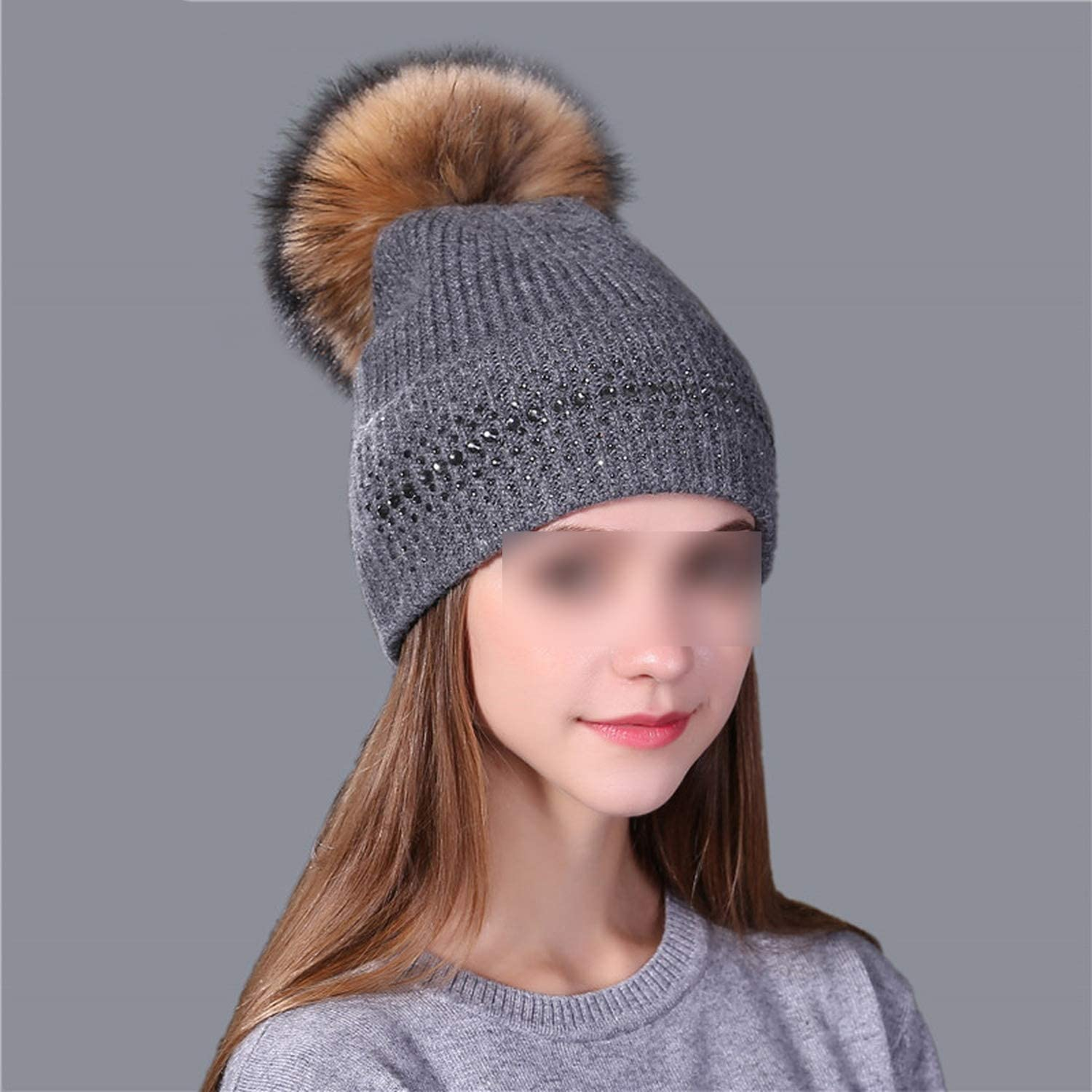 Winter Beanie Hat for Women Real M-Ink F-ur Pom Poms Wool Knitted Girl Hat