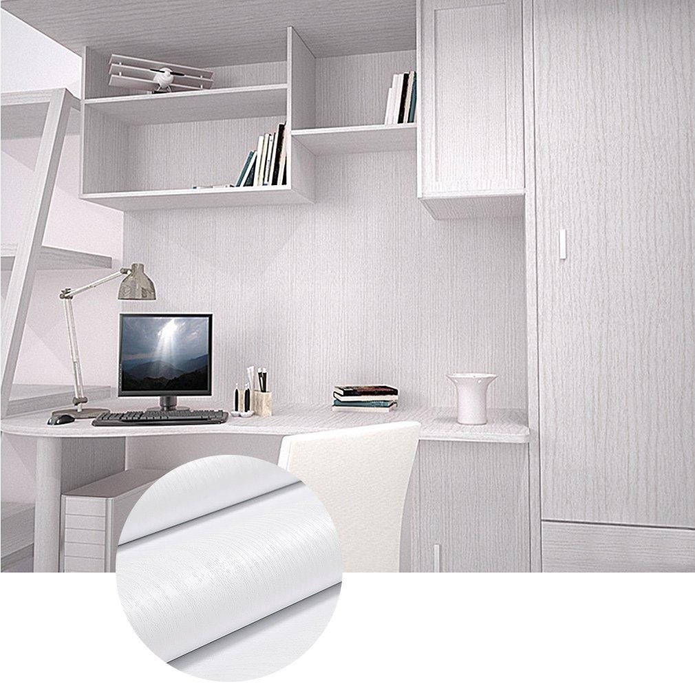 KINLO Klebefolie 0.61x5M Weiß Holz Möbelfolie PVC Selbstklebend ...