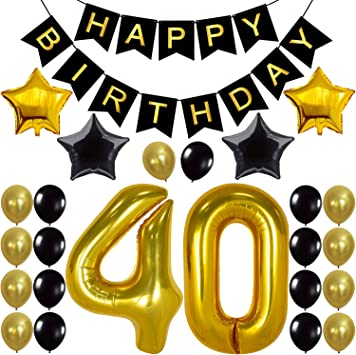 Amazon Com 40th Birthday Party Decorations Kit Large 40 Inch Happy Birthday Banner Number 40 Balloons 40th Birthday Decorations For Men Black Gold Balloons For 40 Year Old Birthday Party Decorations Kitchen Dining