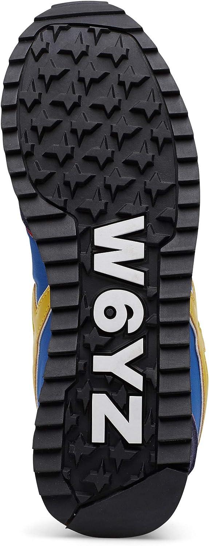 w6yz Jet-M.-Sneakers en Cuir et Nylon Bleu Foncé