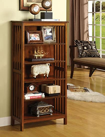 FA Furnishing Britannia Rustic Wood 22 Inch Wide Media Book Shelf In Oak