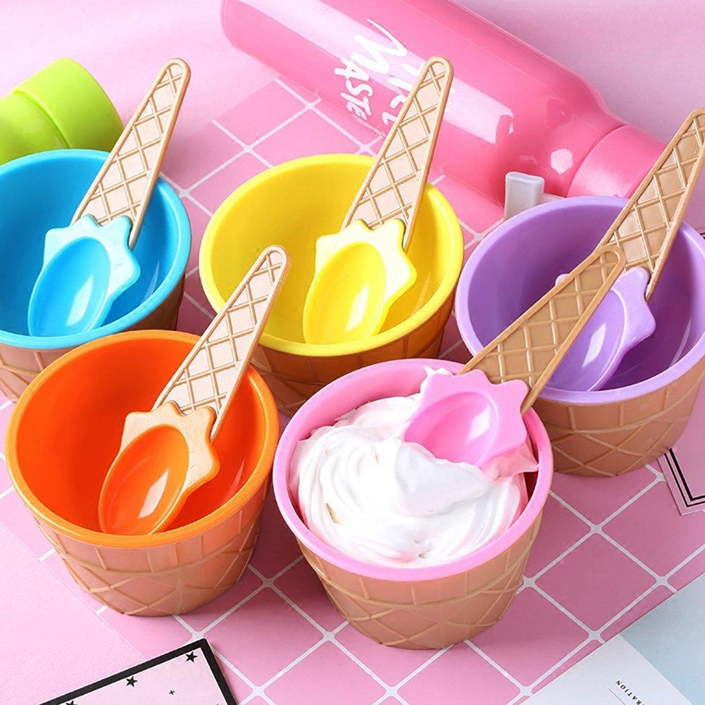 Eis Dessert Schalen und Löffel, sechs lebendigen Farbe Frozen ...