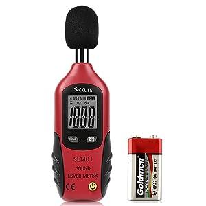 Tacklife SLM01, Medidor de Sonido, Medidor de Ruidos Clásico(40 - 130dB) para Oficina, Teatro, Fábrica, LCD Pantalla, Presición de ±1.5 dB, Batería Incluida de 9V