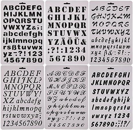 easonove Juego de 6 letra del alfabeto y número de dibujo ...