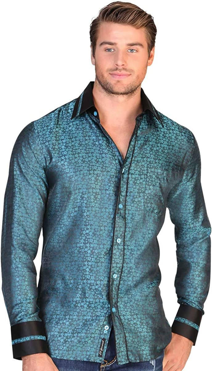 Camisa Casual Shirt L//Sleeve El General 100/% Polyester ID 122272 CS7 Turquoise