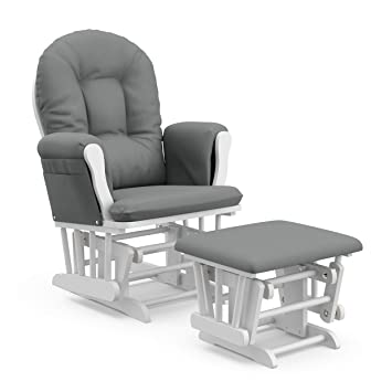 Storkcraft Premium Hoop Glider and Ottoman (White Base, Gray Cushion) – Padded Cushions with Storage Pocket, Smooth Rocking Motion, Easy to Assemble, Solid Hardwood Base