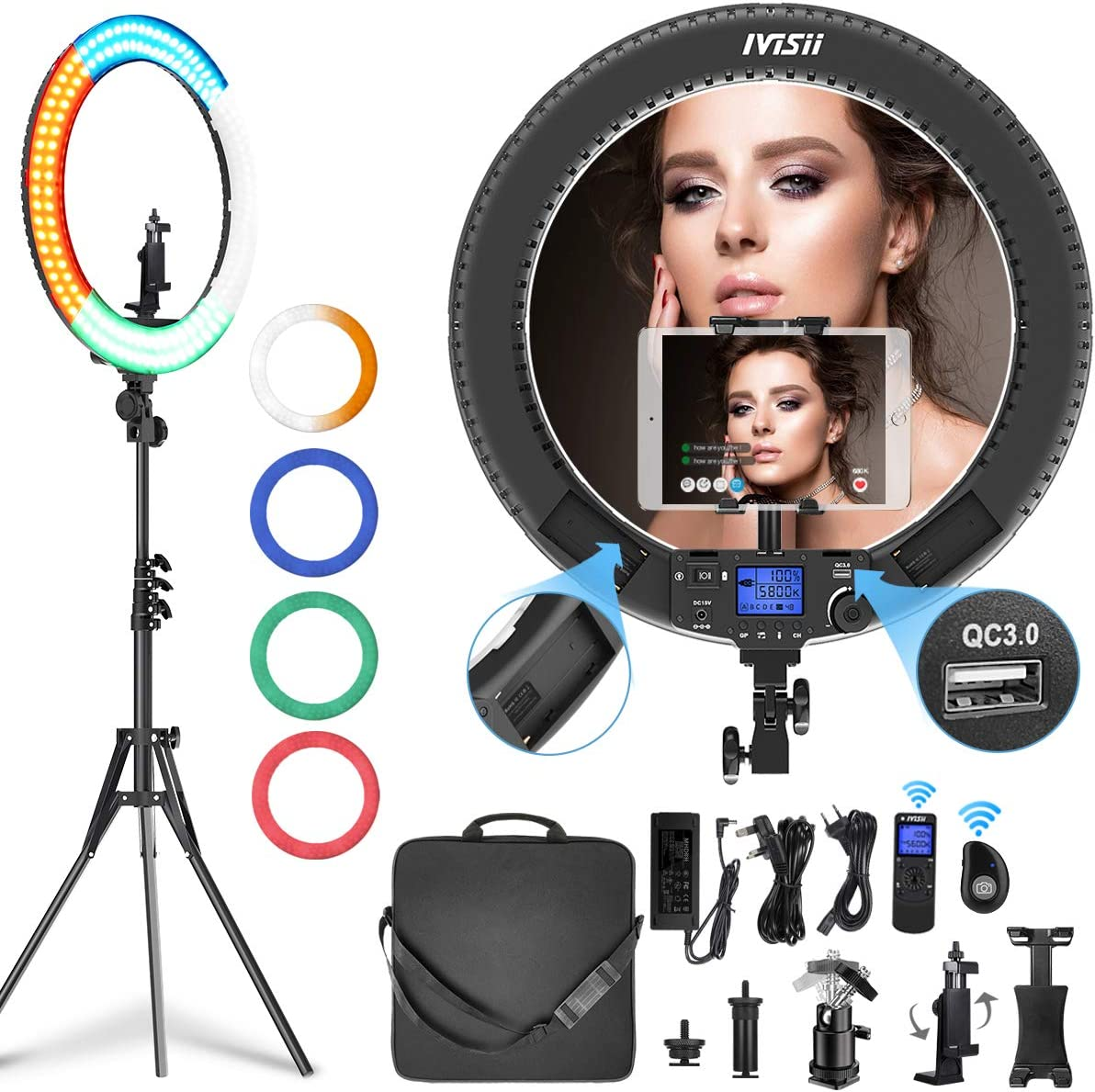 IVISII 19 inch Ring Light with Remote Controller and Stand ipad Holder, 60W Bi-Color with 4 Color Soft Filters for Live Stream/Makeup/YouTube Video/TikTok/Zoom/Photography : Camera & Photo