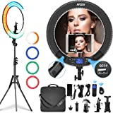 Ring Light with Remote Controller and Stand ipad Holder,Makeup LED Ring Lights 60W Bi-Color 3000K-5800K CRI≥97 & TLCI…