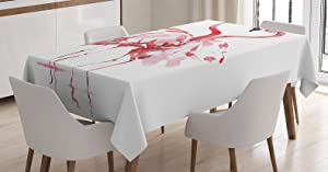 Ambesonne Flamingo Tablecloth, Flamingo Couple Kissing Romance Passion Partners in Love Watercolor Effect, Dining Room Kitchen Rectangular Table Cover, 60