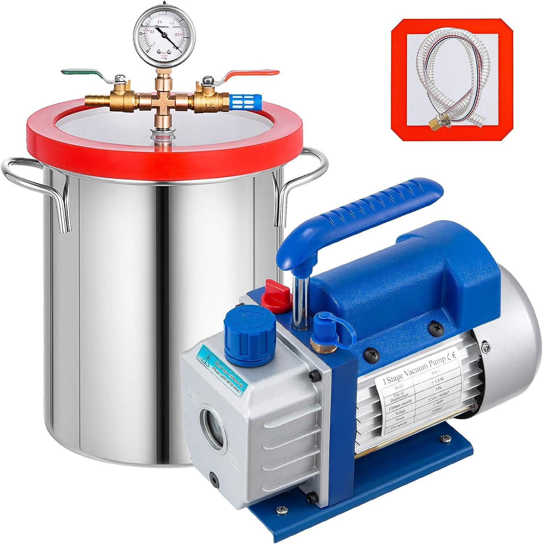 Mophorn 3CFM K/ühlvakuumpumpe mit 5 Gallonen Vakuumkammer