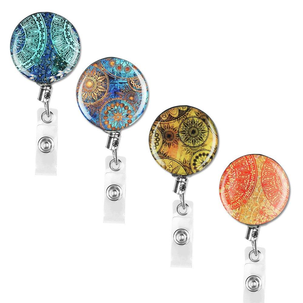 Badge Reel, Lizimandu Retractable Badge Holder Carabiner Reel Clip On ID Card Holders Pack of 4(Blue Flower)