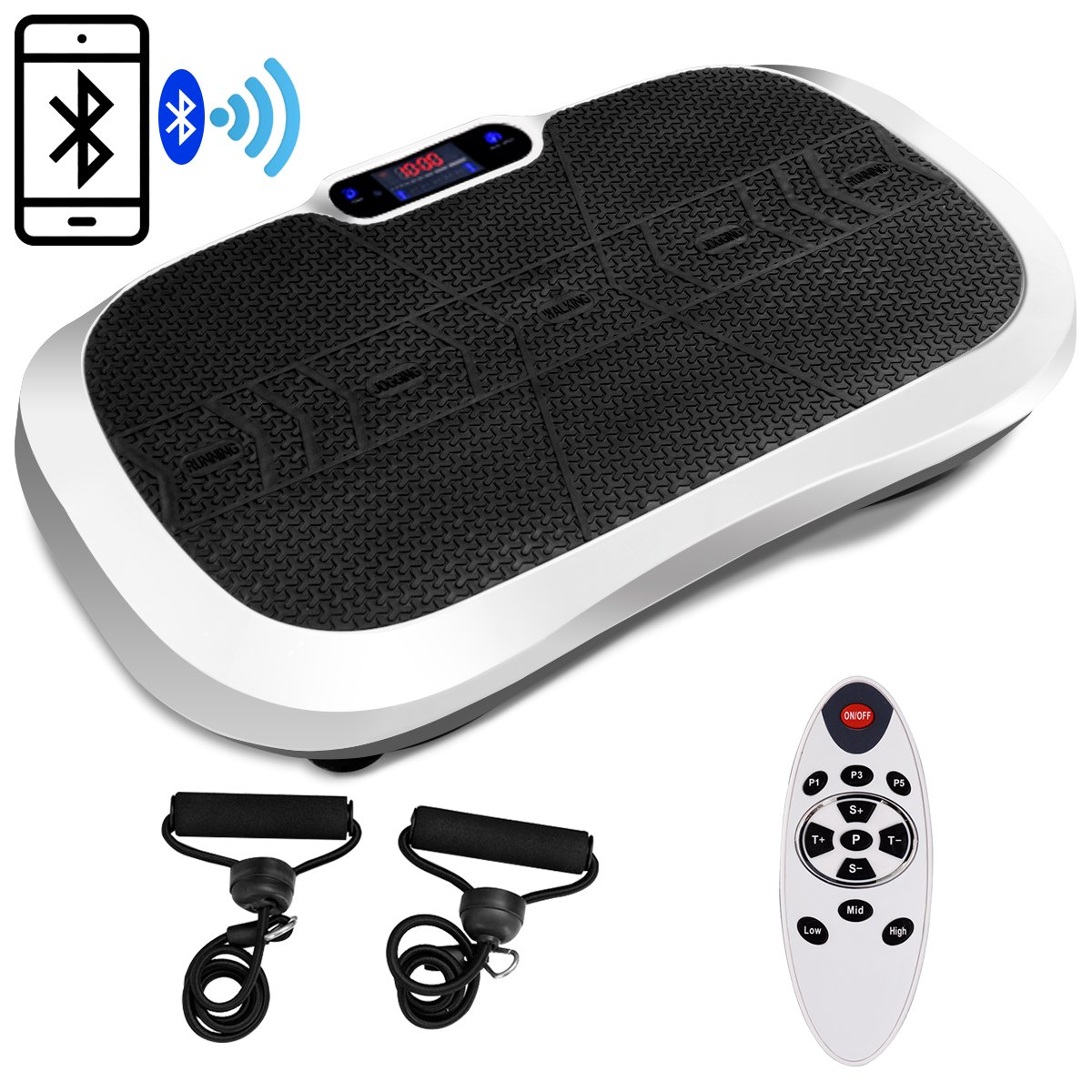 Goplus Fitness Vibration Machine Ultrathin Power Plate Full Body Shape Exercise Machine with Bluetooth Remote Control & Resistance Bands Vibration Workout Trainer (White) by Goplus (Image #1)
