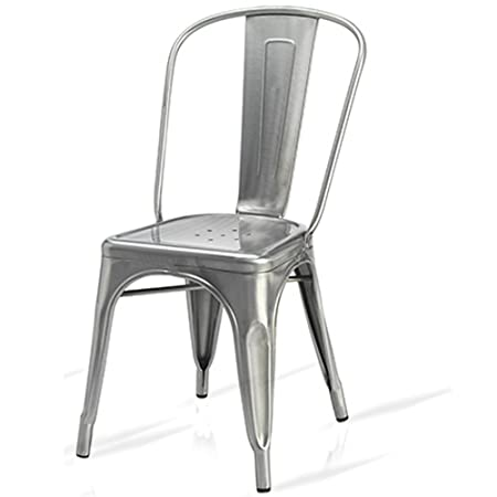new tolix style silver metal bistro chairs brushed steel with clear