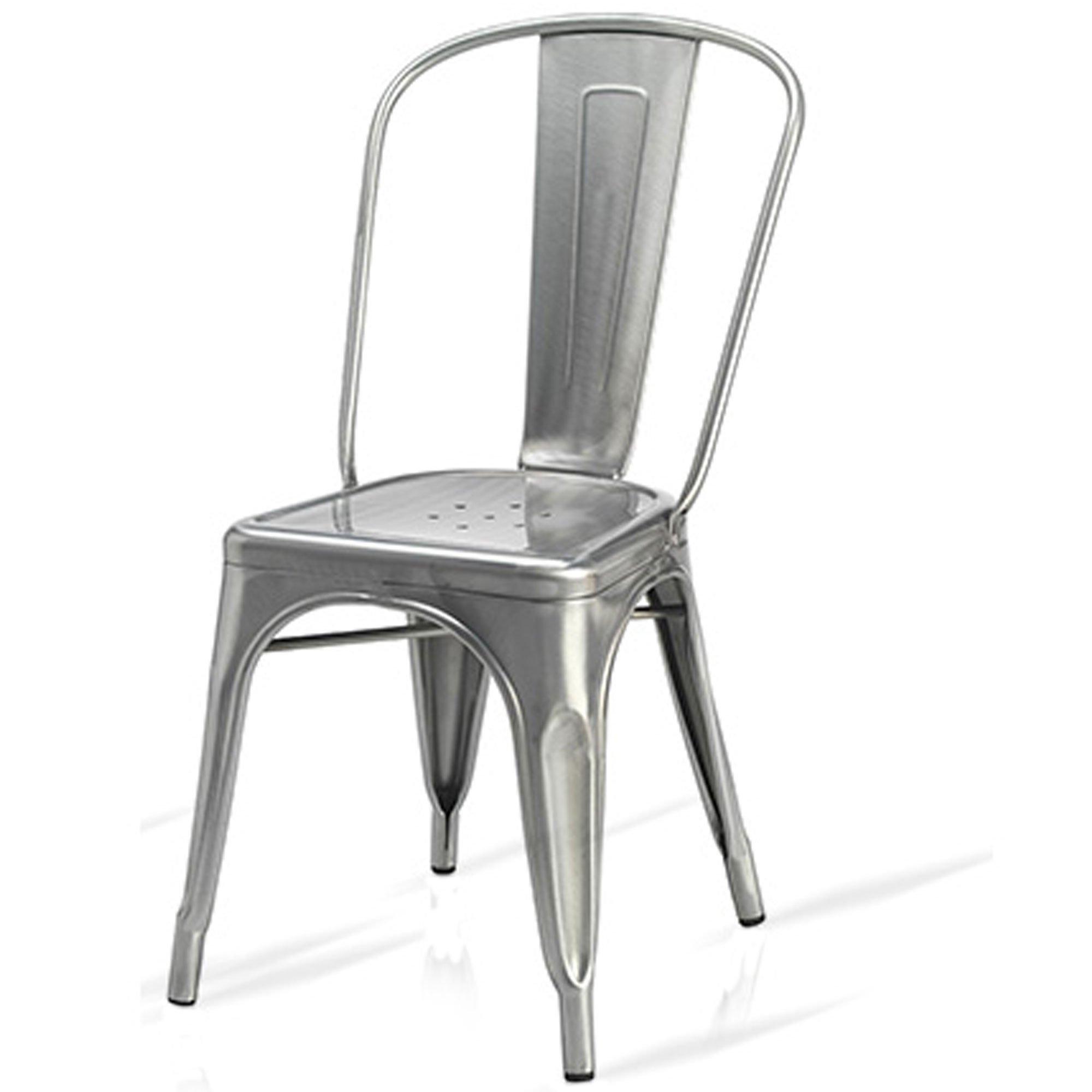 Household Discount New Tolix Style Silver Metal Bistro Chairs Brushed Steel  With Clear Lacquer. Pauchard Retro Cafe Bar.